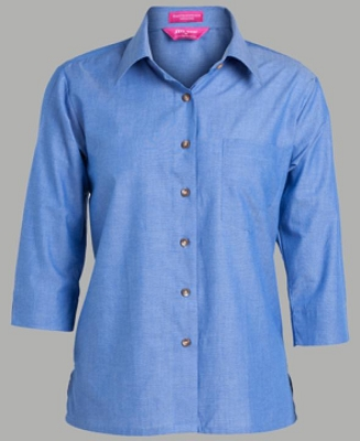 JB'S LADIES 3/4 INDIGO CHAMBRAY SHIRT