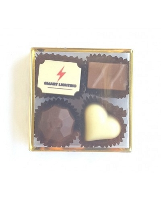 4pc Truffle Box - GOLD - Print on Chocolate