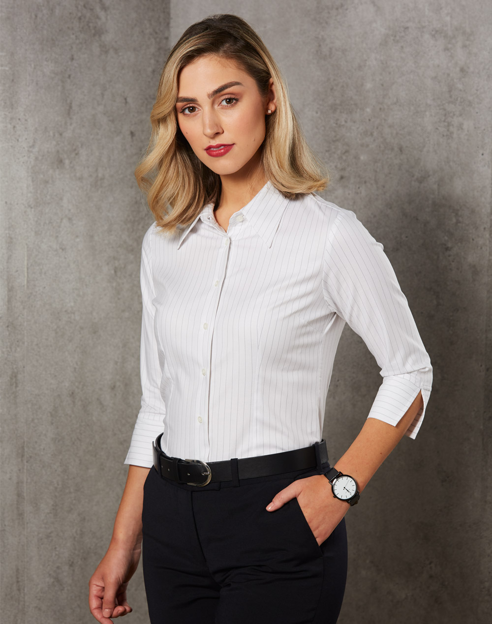 Ladies' 3/4 Sleeve Stretch Stripe Shirt