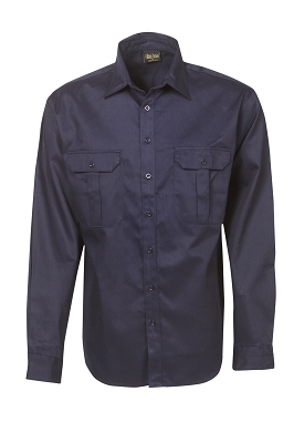 Cotton Drill Work Shirt Long Sleeve