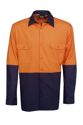 155g Hi Vis Drill Shirts, L/S,  Day Use