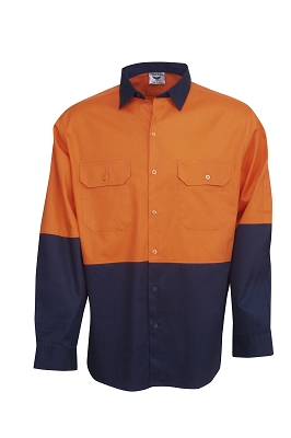 190g Hi Vis Drill Shirts, L/S,  Day Use