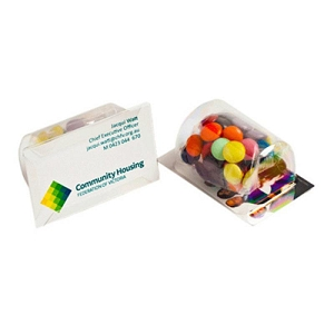 Biz Card Treats with Choc Beans 50G (Mixed Colours) - Business Card Supplied By Customer, From $1.99