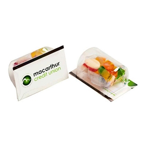 Biz Card Treats with Mixed Lollies 50G - Business Card Supplied By Customer, From $1.75