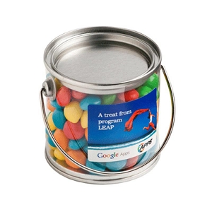 Small PVC Bucket Filled with Chewy Fruits (Skittle Look Alike) 2X 50G Bags in Bucket - Includes Colour Sticker on bucket
