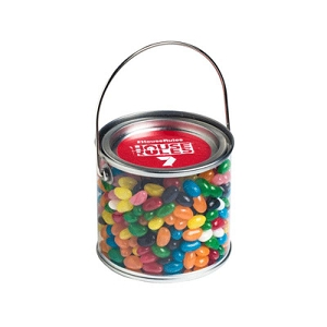 Medium PVC Bucket Filled with Jelly Beans 400G (Corp Coloured or Mixed Coloured Jelly Beans) - Includes Colour Sticker on bucket, From $4.99