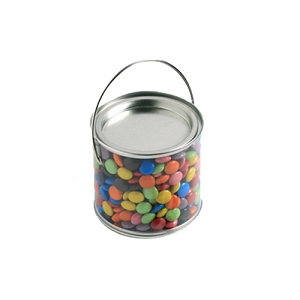 Medium PVC Bucket Filled with Choc Beans 400G (Mixed Coloured) - Includes Colour Sticker on bucket