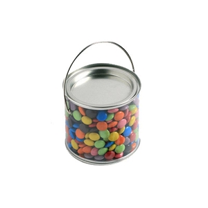 Medium PVC Bucket Filled with Choc Beans 400G (Corporate Colours) - Includes Colour Sticker on bucket