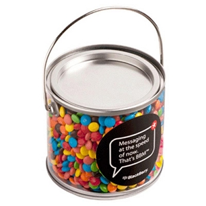 Medium PVC Bucket Filled with M&Ms 400G - Includes Colour Sticker on bucket