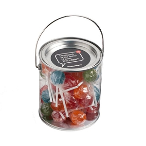 Big PVC Bucket Filled with Ball Lollipops X44 (Corporate Coloured Lolllipops) - Includes Colour Sticker on bucket