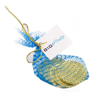 Chocolate Coins in Mesh Bag with Gold Elastic Ribbon Tied in A Bow X6 - Includes Tag attached, From $2.45