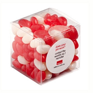Jelly Beans in Cube 110G (Corp Coloured or Mixed Coloured Jelly Beans) - Includes Colour Sticker