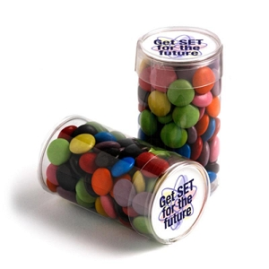 Pet Tube Filled with Choc Beans 100G (Corporate Colours) - Includes Colour Sticker, From $3.08