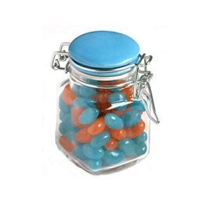 Jelly Beans in Glass Clip Lock Jar 80G (Mixed Colours or Corporate Colours) - Includes Colour Sticker