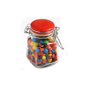 Mini M&Ms in Glass Clip Lock Jar 80G - Includes Colour Sticker