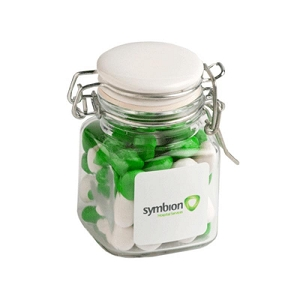 Chewy Fruits (Skittle Look Alike) in Clip Lock Jar 80G - Includes Pad Print
