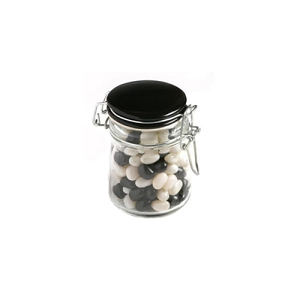 Jelly Beans in Glass Clip Lock Jar 160G (Mixed Colours or Corporate Colours) - Includes Colour Sticker, From $3.71
