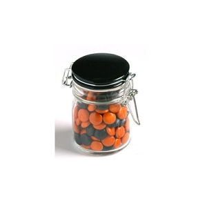 Choc Beans in Glass Clip Lock Jar 160G (Corporate Colours) - Includes Pad Print