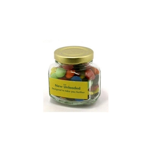 Choc Beans in Glass Squexagonal Jar 90G (Corporate Colours) - Includes Colour Sticker