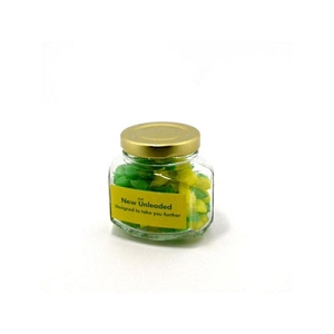Corporate Coloured Humbugs in Glass Squexagonal Jar 80G - Includes Colour Sticker, From $2.66