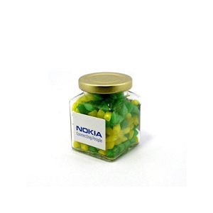 Corporate Coloured Humbugs in Glass Square Jar 140G - Includes Unbranded