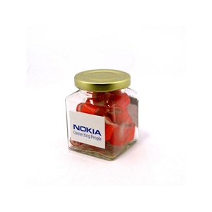Personalised Rock Candy in Glass Square Jar 135G - Includes Colour Sticker, From $8.97