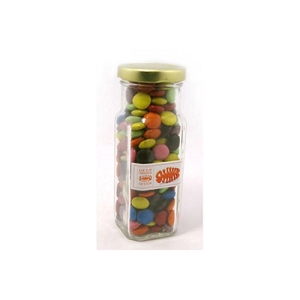 Choc Beans in Glass Tall Jar 220G (Corporate Colours) - Includes Unbranded