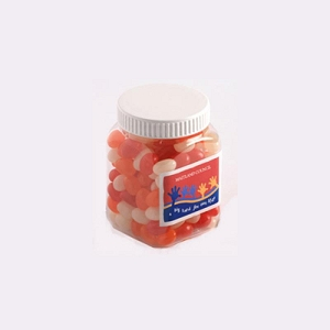 Jelly Beans in Plastic Jar 180G (Mixed Colours or Corporate Colours) - Includes Unbranded