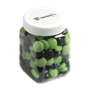 Choc Beans in Plastic Jar 180G (Corporate Colours) - Includes Colour Sticker