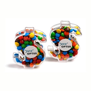 Acrylic Dollar Filled with Mini M&Ms 40G - Includes Colour Sticker, From $2.88