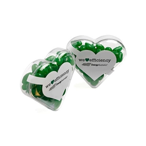 Acrylic Heart Filled with Jelly Beans 50G (Mixed Colours or Corporate Colours) - Includes Colour Sticker, From $2.19