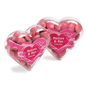 Acrylic Heart Filled with Choc Beans 50G (Corporate Colours) - Includes 1 Colour Pad Print, From $3.01