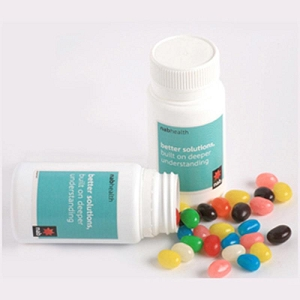 Pill Jar Filled with Jelly Beans 120G (Mixed Colours or Corporate Colours) - Includes Colour Sticker