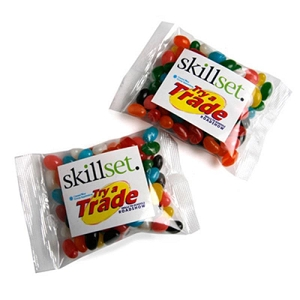 Jelly Beans Bag 100G (Mixed or Corporate Colours) - Includes One Colour print on bag