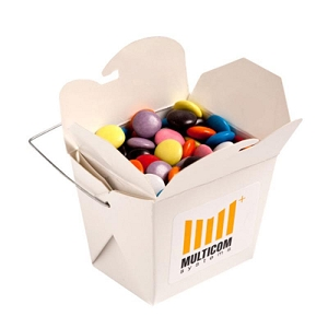White Cardboard Noodle Box Filled with Choc Beans Smartie Look Alike 100G (Corporate Colours) - Includes Colour Sticker on box , From $3.23