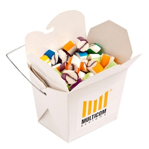 White Cardboard Noodle Box Filled with Personalised Rock Candy 100G - Includes Colour Sticker, From $5.9