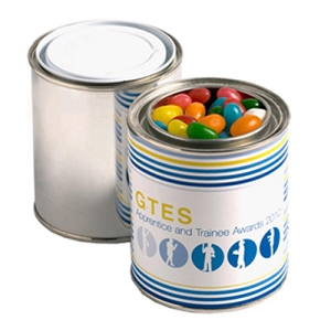 Paint Tin Filled with Jelly Beans 250G (Mixed Colours or Corporate Colours) - Includes Printed Wrapper, From $4.76