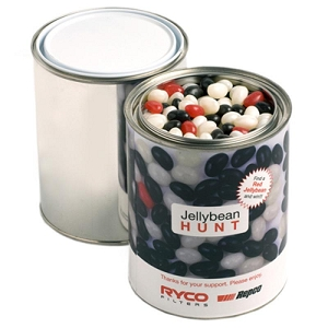 Paint Tin Filled with Jelly Beans 1Kg (Mixed Colours or Corporate Colours) - Includes Printed Wrapper, From $11.5