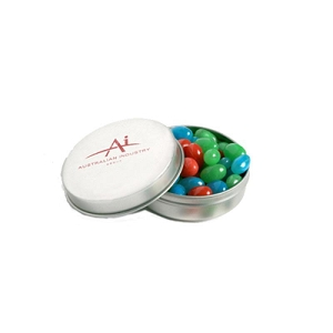 Candle Tin Filled with Mini Jelly Beans 50G (Mixed Colours or Corporate Colours) - Includes Colour Sticker, From $2.18