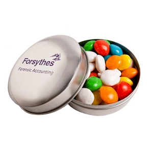 Candle Tin Filled with Chewy Fruits (Skittle Look Alike) 50G - Includes 1 Colour Pad Print, From $2.61