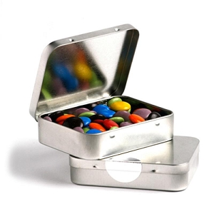 Rectangle Hinge Tin Fillled with Choc Beans 65G (Corporate Colours) - Includes Colour Sticker
