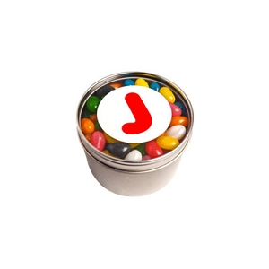 Small Round Acrylic Window Tin Fillled with Jelly Beans 150G (Mixed Colours or Corporate Colours) - Includes  Colour Sticker, From $3.49