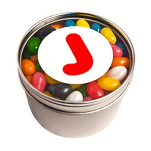 Small Round Acrylic Window Tin Fillled with Jelly Beans 150G (Mixed Colours or Corporate Colours) - Includes  Colour Sticker on tin, From $3.32