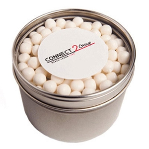 Small Round Acrylic Window Tin Fillled with Mints or Musks 150G - Includes  Colour Sticker on tin