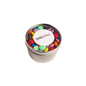 Small Round Acrylic Window Tin Fillled with Choc Beans 150G (Corporate Colours) - Includes  Colour Sticker