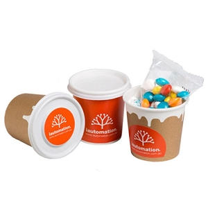 Coffee Cup Filled with Chewy Fruits(Skittle Look Alike) 50G - Includes Full Colour WRAP AROUND & LID Colour Stickers