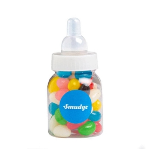 Baby Bottle Filled with Jelly Beans (Mixed or Corp Colours) 50G - Includes Colour Sticker, From $1.78