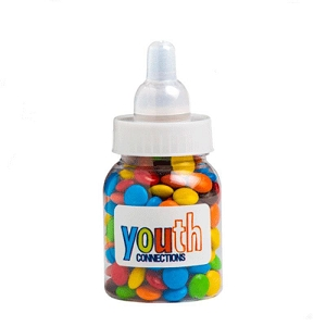 Baby Bottle Filled with Mini M&Ms 45G - Includes Colour Sticker
