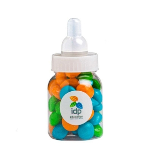 Baby Bottle Filled with Chewy Fruit (Mixed or Corp Colours) 50G - Includes Colour Sticker