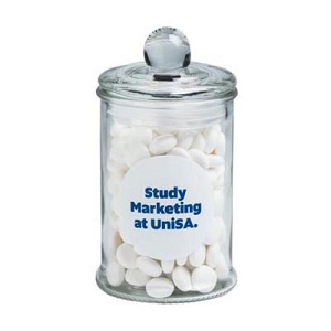 Small Apothecary Jar Filled with Mints 115G - Includes Colour Sticker on Jar